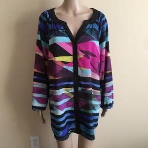 Calvin Klein 2X Blouse Long Sleeve Silky Plus